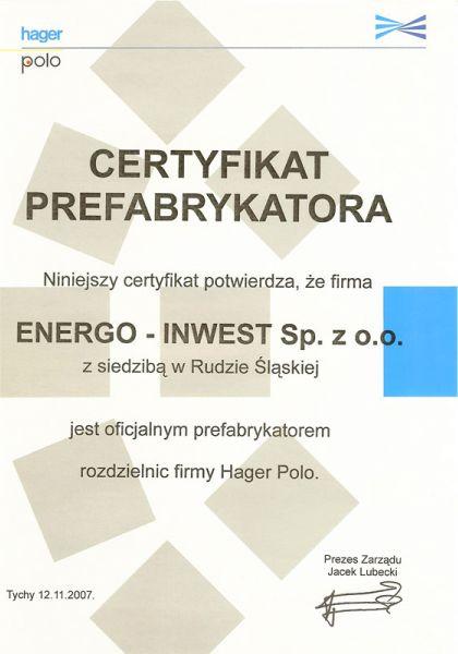 Certyfikat oficjalnego prefabrykatora rozdzielnic firmy Hager Polo