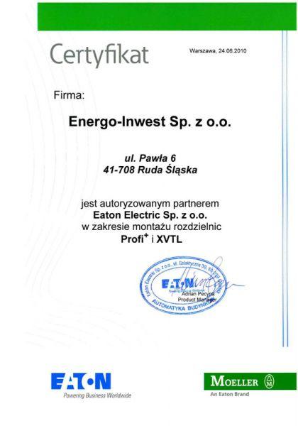 Certyfikat autoryzowanego partnera firmy Eaton Electric w zakresie produkcji rozdzielnic typu XVTL (2500A) oraz Profi+ (630A)