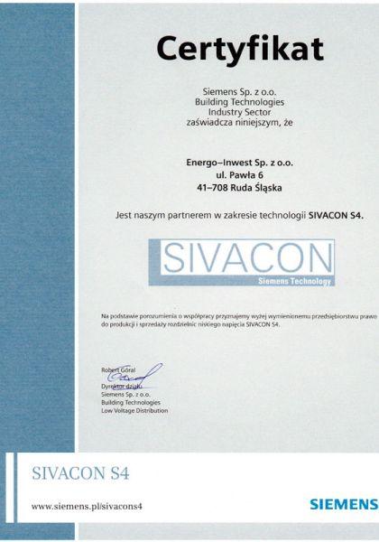 Certyfikat partnera firmy Siemens w zakresie produkcji rozdzielnic w technologii SIVACON S4